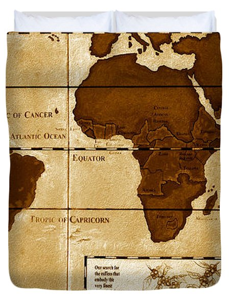 World Map Of Coffee Duvet Cover