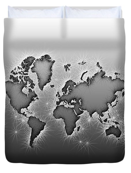 World Map Opala In Black And White Duvet Cover
