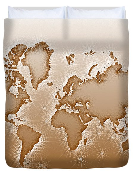 World Map Opala In Brown And White Duvet Cover by Eleven Corners