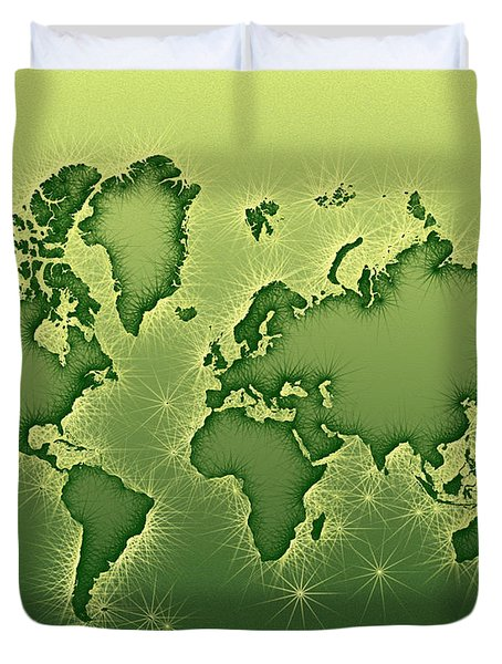 World Map Opala In Green And Yellow Duvet Cover by Eleven Corners
