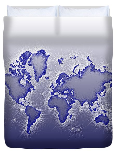 World Map Opala Square In Blue And White Duvet Cover by Eleven Corners