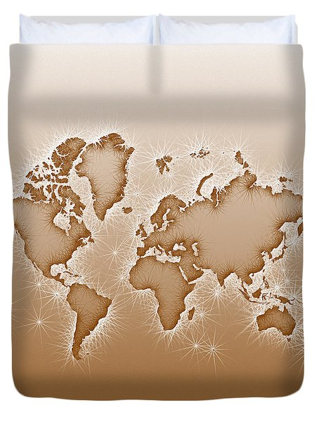 World Map Opala Square In Brown And White Duvet Cover by Eleven Corners