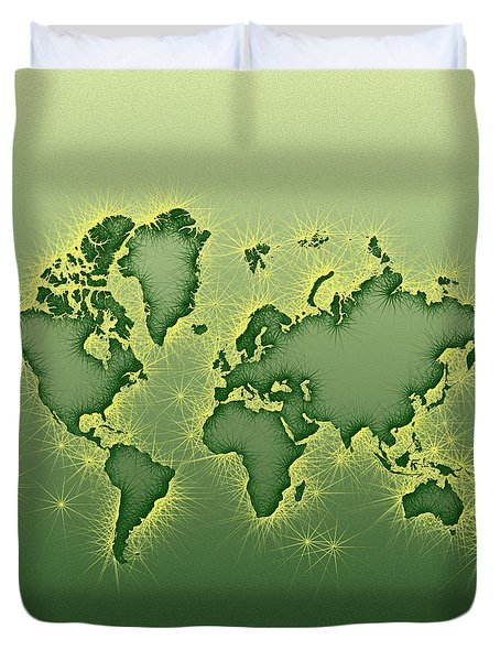World Map Opala Square In Green And Yellow Duvet Cover by Eleven Corners