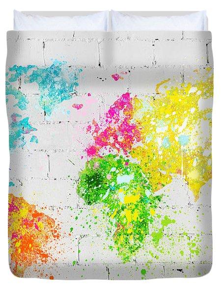 World Map Painting On Brick Wall Duvet Cover by Setsiri Silapasuwanchai