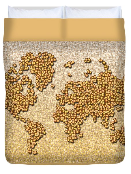World Map Rolamento In Yellow And Brown Duvet Cover
