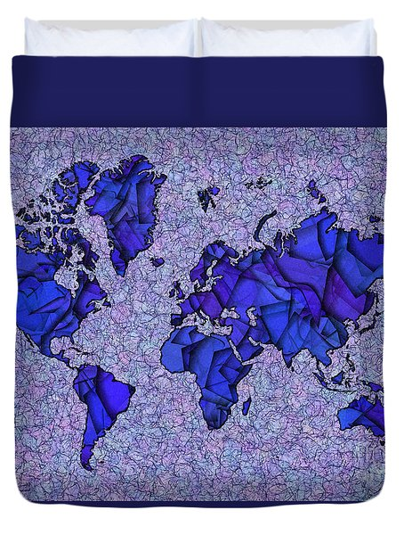 World Map Takkede In Blue Duvet Cover by Eleven Corners