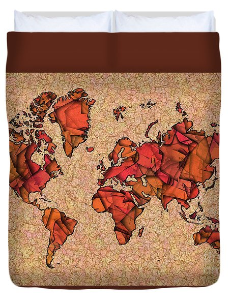 World Map Takkede In Brown And Orange Duvet Cover by Eleven Corners