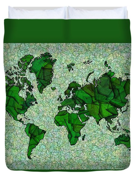 World Map Takkede In Green Duvet Cover by Eleven Corners