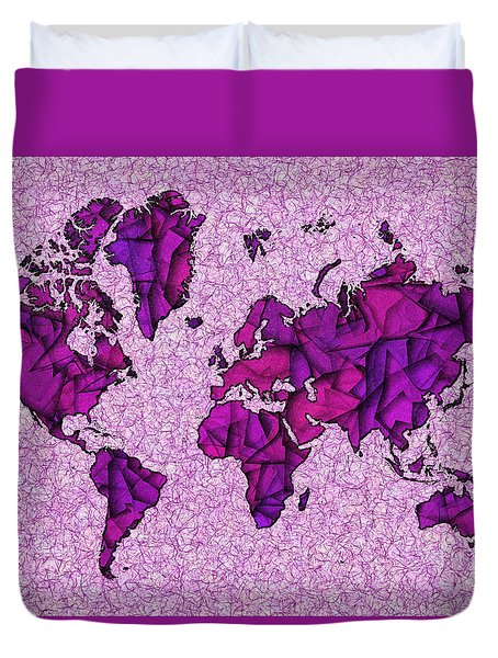 World Map Takkede In Purple Duvet Cover by Eleven Corners