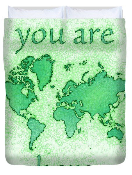 World Map You Are Here Airy In Green And White Duvet Cover by Eleven Corners