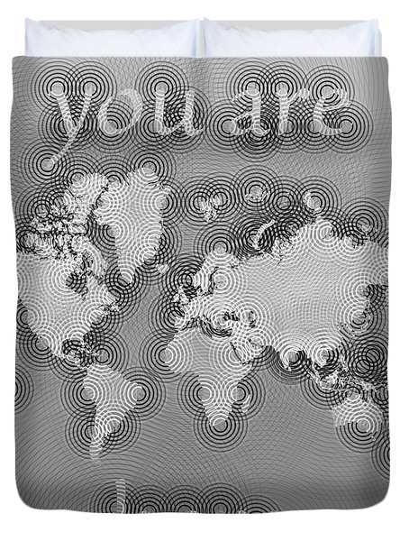World Map Zona You Are Here In Black And White Duvet Cover by Eleven Corners