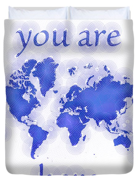World Map Zona You Are Here In Blue And White Duvet Cover by Eleven Corners