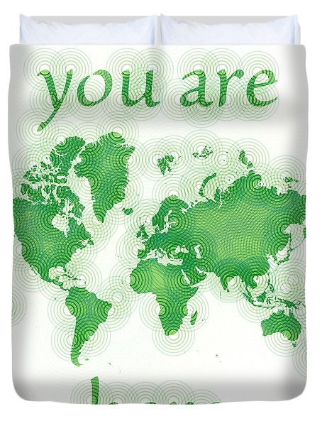 World Map Zona You Are Here In Green And White Duvet Cover by Eleven Corners