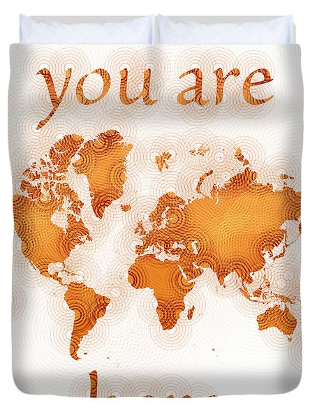 World Map Zona You Are Here In Orange And White Duvet Cover by Eleven Corners