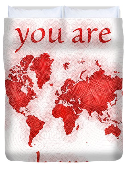 World Map Zona You Are Here In Red And White Duvet Cover by Eleven Corners