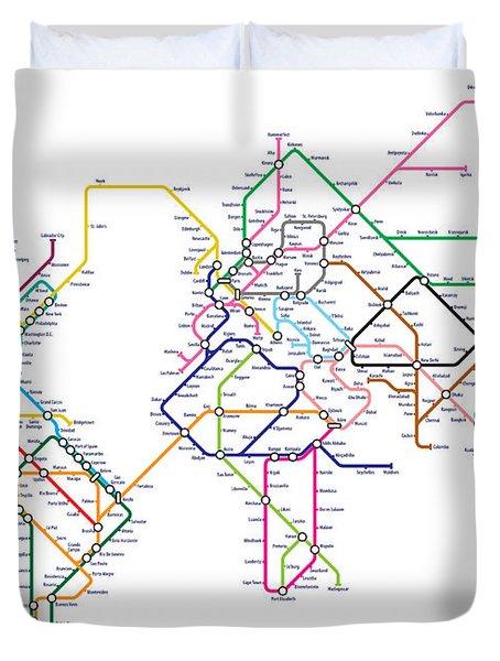 World Metro Tube Map Duvet Cover