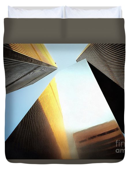 World Trade Center Towers And The Ideogram 1971-2001 Duvet Cover by Nishanth Gopinathan