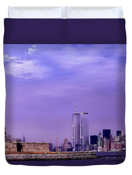 World Trade Center Twin Towers And The Statue Of Liberty  Duvet Cover