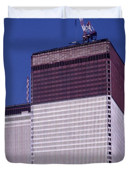 World Trade Center Under Construction Duvet Cover
