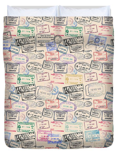 World Traveler Passport Stamp Pattern - Antique White Duvet Cover