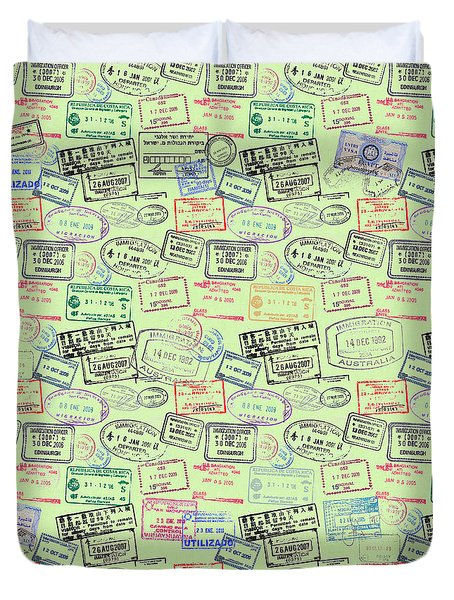 World Traveler Passport Stamp Pattern - Mint Green Duvet Cover