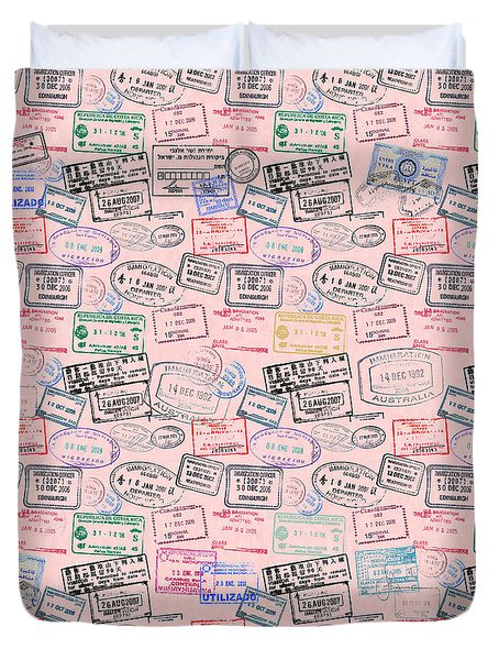 World Traveler Passport Stamp Pattern - Rose Pink Duvet Cover