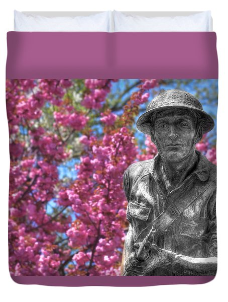 Duvet Cover featuring the photograph World War I Buddy Monument Statue by Shelley Neff