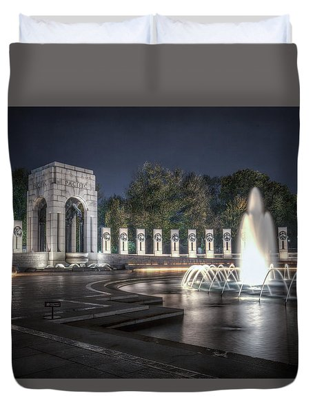 Duvet Cover featuring the photograph World War II Memorial At Night by Ross Henton