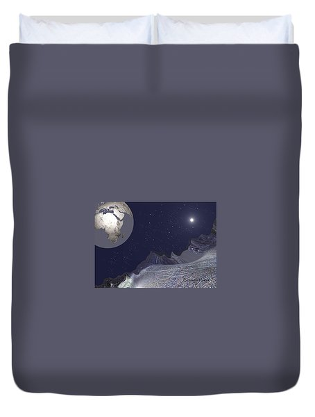 Duvet Cover featuring the digital art 1657 - Worlds - 2017 by Irmgard Schoendorf Welch