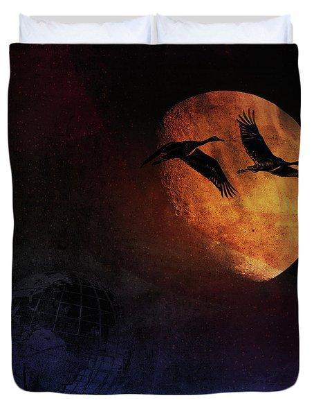 Duvet Cover featuring the digital art World's Fair Birds by Richard Ricci