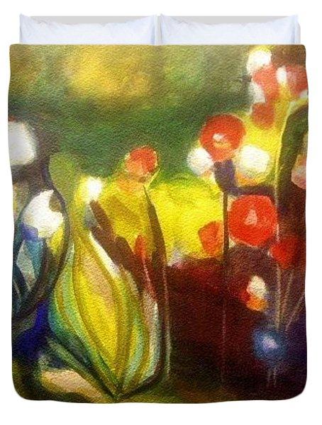 Warm Flowers In A Cool Garden Duvet Cover