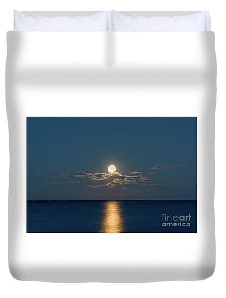 Worm Moon Over The Atlantic Duvet Cover