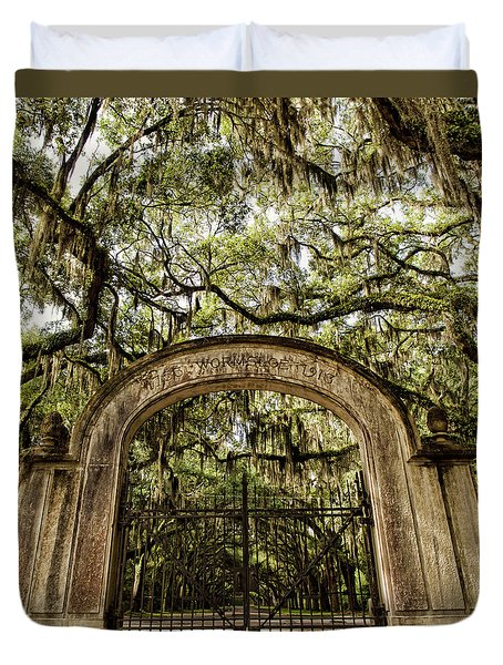 Duvet Cover featuring the photograph Wormsloe Entrance by Heather Applegate