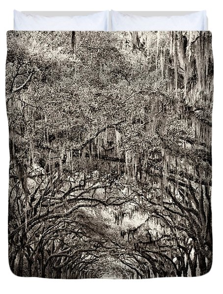Duvet Cover featuring the photograph Wormsloe by Heather Applegate