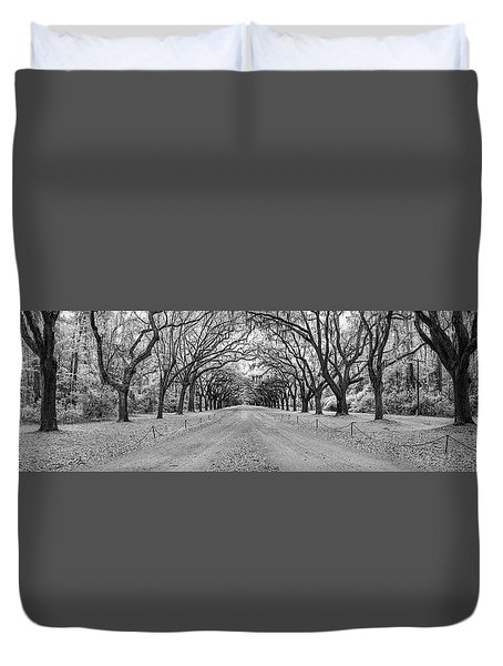 Duvet Cover featuring the photograph Wormsloe Pathway by Jon Glaser