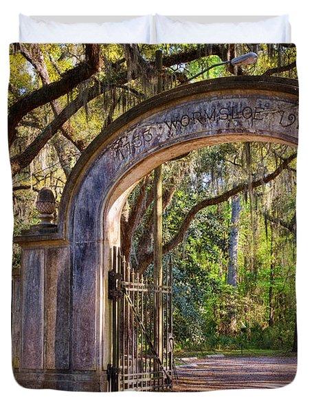 Wormsloe Plantation Gate Duvet Cover