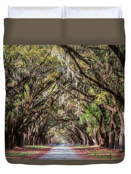 Wormsloe Plantation Oaks Duvet Cover
