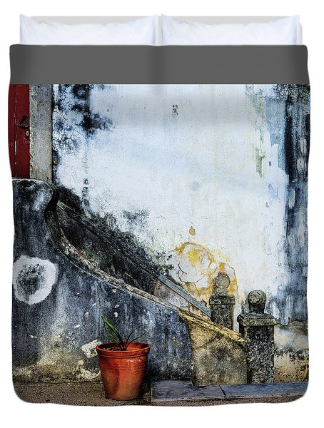 Duvet Cover featuring the photograph Worn Palace Stairs by Marion McCristall
