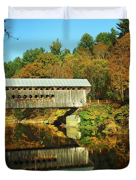 Worrall's Bridge Vermont - New England Fall Landscape Covered Bridge Duvet Cover by Jon Holiday