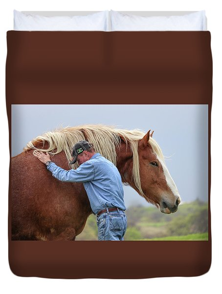 Duvet Cover featuring the photograph Wrangler Jeans And Belgian Horse by Robert Bellomy
