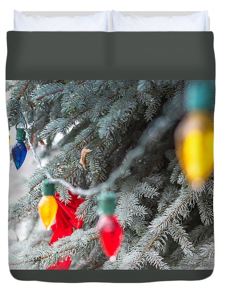 Duvet Cover featuring the photograph Wrap A Tree In Color by Lora Lee Chapman