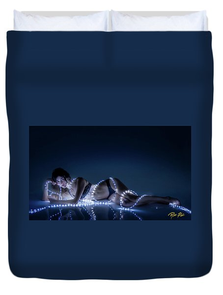 Duvet Cover featuring the photograph Wrapped In Light by Rikk Flohr