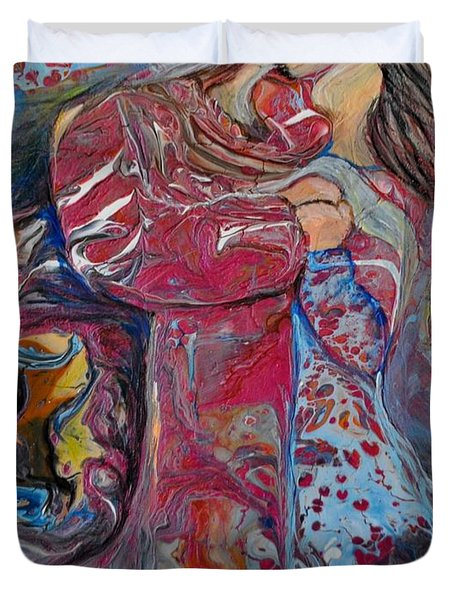 Duvet Cover featuring the painting Wrapped In Your Love by Deborah Nell