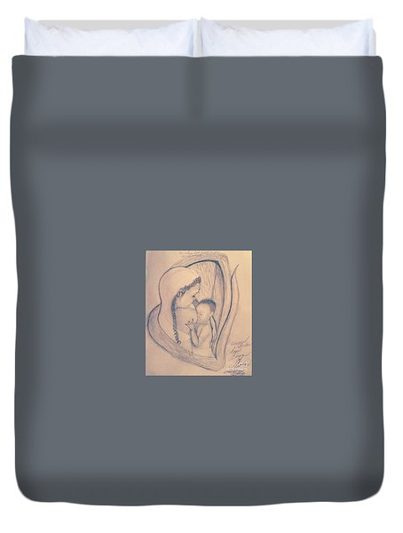 Wrapped Within The Angel Wings Of Momma Duvet Cover