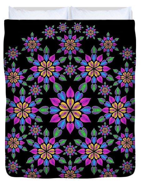 Wreath Of Heart Flowers Duvet Cover