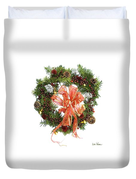 Wreath With Bow Duvet Cover by Lise Winne
