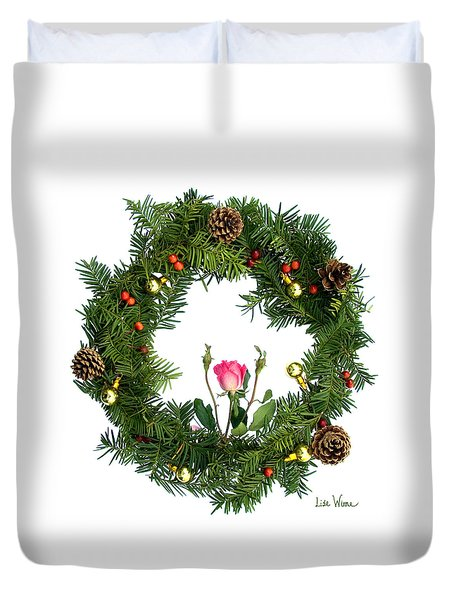 Wreath With Rose Duvet Cover by Lise Winne