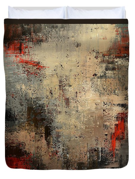 Duvet Cover featuring the painting Wreckage by Tatiana Iliina