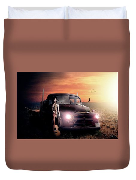 Duvet Cover featuring the digital art Wrecked  by Nathan Wright