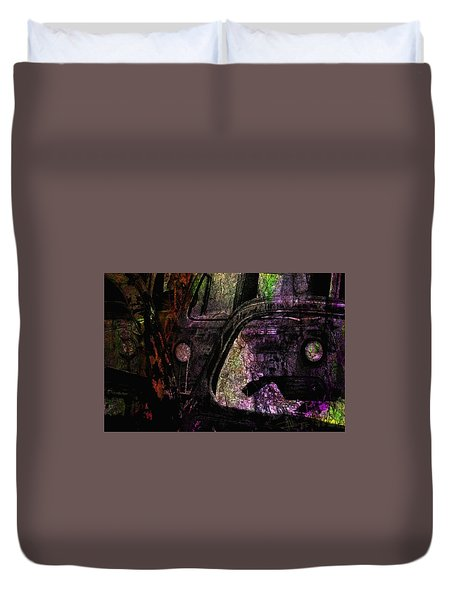 Duvet Cover featuring the photograph Wrecking Yard Design by Jim Vance